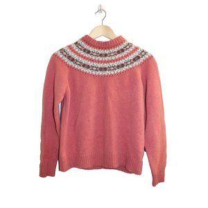 Woolrich Pink Fairisle Crewneck Lambswool Sweater